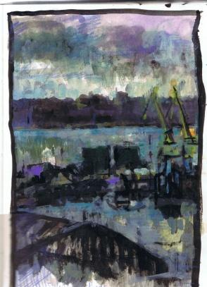 Port de commerce- 20x29- acrylique sur papier
